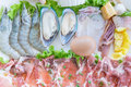Image of  vegetables, slice beef/pork, and seafood for Shabu or S Royalty Free Stock Photo