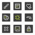 Image viewer web icons set 1, grey square buttons Royalty Free Stock Images