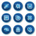 Image viewer web icons set 2, blue circle buttons Royalty Free Stock Image