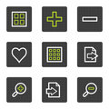 Image viewer web icons set 2, grey square buttons Stock Images