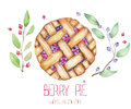 An image with the watercolor berry pie and branches of blueberry.