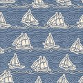 Image Of White And Light Blue Waves And Sailing Ships On A Blue Background. Seamless Pattern For Wallpaper, Textile.