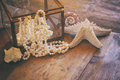 Image of white pearls necklace and seashells Royalty Free Stock Photo