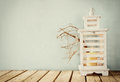 Image Of White Wooden Vintage ...