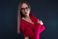 Image of woman in glasses leaned aside on black background Royalty Free Stock Photo