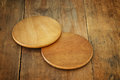 image of wooden beer coasters on textured table background Royalty Free Stock Photo