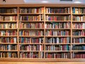 Image of wooden book shelf with books Royalty Free Stock Photo