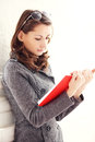 Image of young beautiful woman reading a book Royalty Free Stock Photography