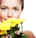 Image of a young woman with yellow chrysanthemums Royalty Free Stock Photos
