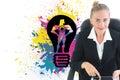 Imagem composta da mulher de negócios que senta se na cadeira de giro com tabuleta Imagem de Stock Royalty Free