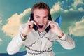 Imagem composta do homem de negócios seguro que tem um telefonema Fotografia de Stock Royalty Free