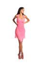 Imagem da mulher bonita no vestido cor de rosa elegante isolado no branco Imagem de Stock