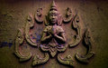 Images of buddha on wall of temple thailand Royalty Free Stock Photo