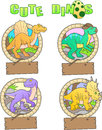 Images of funny dinosaurs set Stock Photo