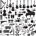 Images of musical instruments collection black silhouettes on a white background Royalty Free Stock Images