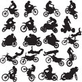 Images of sportsmen of motorcyclists black on a white background Stock Photos