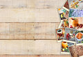 Images with a variety of different spices and spice grinder. collage on wooden background Royalty Free Stock Photo