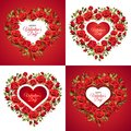 Valentine`s Day greeting card template. Red roses isolated on white background.