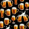 Seamless pattern with beer glass. Mugs and glasses for toast with light beer on black background. Royalty Free Stock Photo