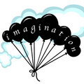 Imagination concept with balloons and clouds Royalty Free Stock Images