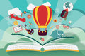 Imagination concept - open book with air balloon
