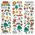 Imagination. Exploration. Study. Play. Learn. Kindergarten. Children. Kids drawing. Doodle icon. Illustration. Moon
