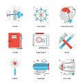 Imagination and thinking line icons set thin of conceptual vision out the box innovation develop business invention discovery new Stock Photography