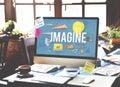 Imagine creative dream expect ideas vision concept Stock Photos