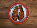 Imam bayildi dishes found in turkish cuisine whole braised eggplant stuffed with onion garlic and tomatoes Stock Photos