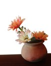 Imitate flower in ceramic pot vase craft handmade of clothes paper and plastic realistic colorful artificial for home Stock Photos