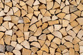Imitated woodpile of short wood pieces Royalty Free Stock Photo