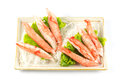 Imitation crab placed plate vegetables Royalty Free Stock Photo