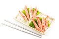 Imitation crab placed plate vegetables Royalty Free Stock Image