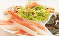 Imitation crab stick served on a plate Royalty Free Stock Photo