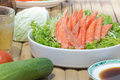 Imitation crab stick with shoyu sauce vegetables and beer Royalty Free Stock Photography