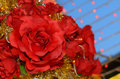 Imitation roses red on evening sky Stock Image