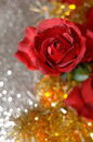Imitation roses vertical red on bokeh background Royalty Free Stock Images