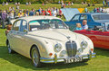 Immaculate white Jaguar at Forres Theme day. Stock Photography