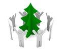 Immagine festiva albero di natale su una priorità bassa bianca Fotografia Stock Libera da Diritti