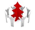 Immagine festiva albero di natale su una priorità bassa bianca Immagini Stock Libere da Diritti