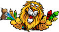 Immagine prescolare felice del fumetto della mascotte del leone Immagine Stock Libera da Diritti