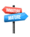 Immature mature road sign illustration design over a white background Royalty Free Stock Images