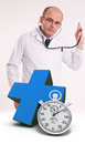 Immediate doctor availability using stethoscope a blue cross and a chronometer Royalty Free Stock Images