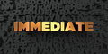 Immediate - Gold text on black background - 3D rendered royalty free stock picture