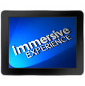 Immersive experience computer tablet screen viewing involvement words on pad to illustrate an educational or entertainment or use Stock Photos