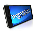 Immersive experience words smart phone display screen on a or to illustrate a viewing sensation Stock Images