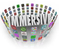 Immersive word app software program application icons in d letters surrounded by rings of representing programs or applications Royalty Free Stock Image