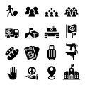 Immigration , immigrant , refugee icon set