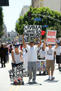 Immigration march in Los Angeles Stock Photography