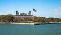 Immigration museum on ellis island new york main building in harbor Stock Photography